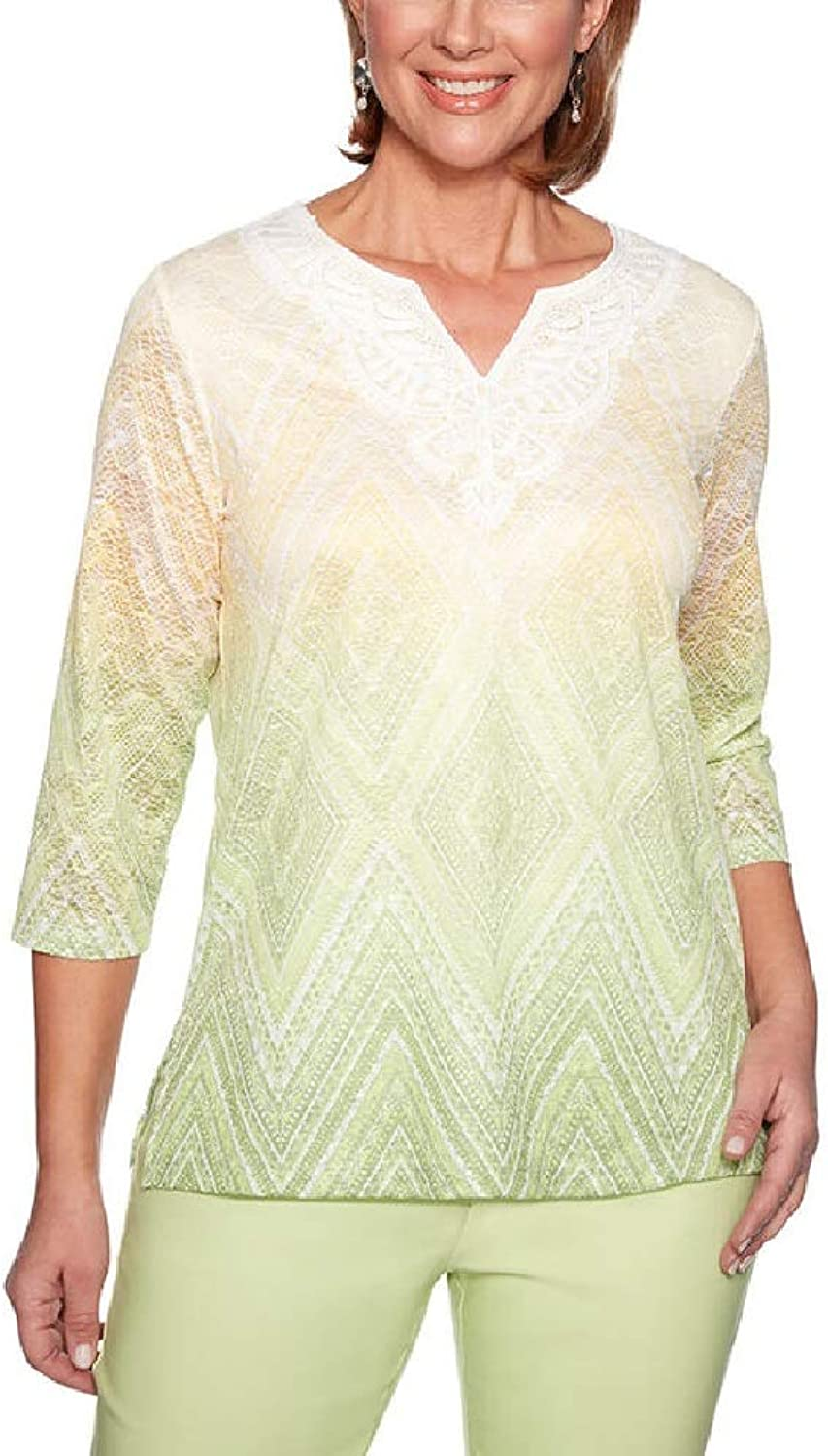 Alfred Dunner Women's Endless Weekend Ombre Diamond Top