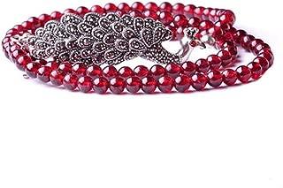4mm Round Genuine Garnet Beads 925 Silver Marcasite Charm Bracelet 20 inches