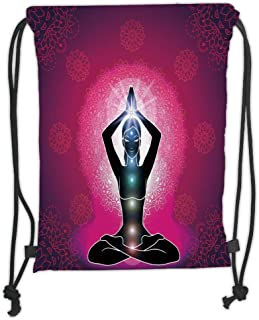 Drawstring Backpacks Bags,Chakra Decor,Maroon Silhouette of Yoga Woman with Cores with Neon Featured Boho Design,Pink Black Soft Satin,5 Liter Capacity,Adjustable String Closure,TH