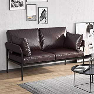 Tribesigns Vintage Faux Leather Loveseat, 2 Seater Sofa for Small Space, Mid Century Industrial Couch with Armrest for Living Room, Dark Brown & Black Metal Frame