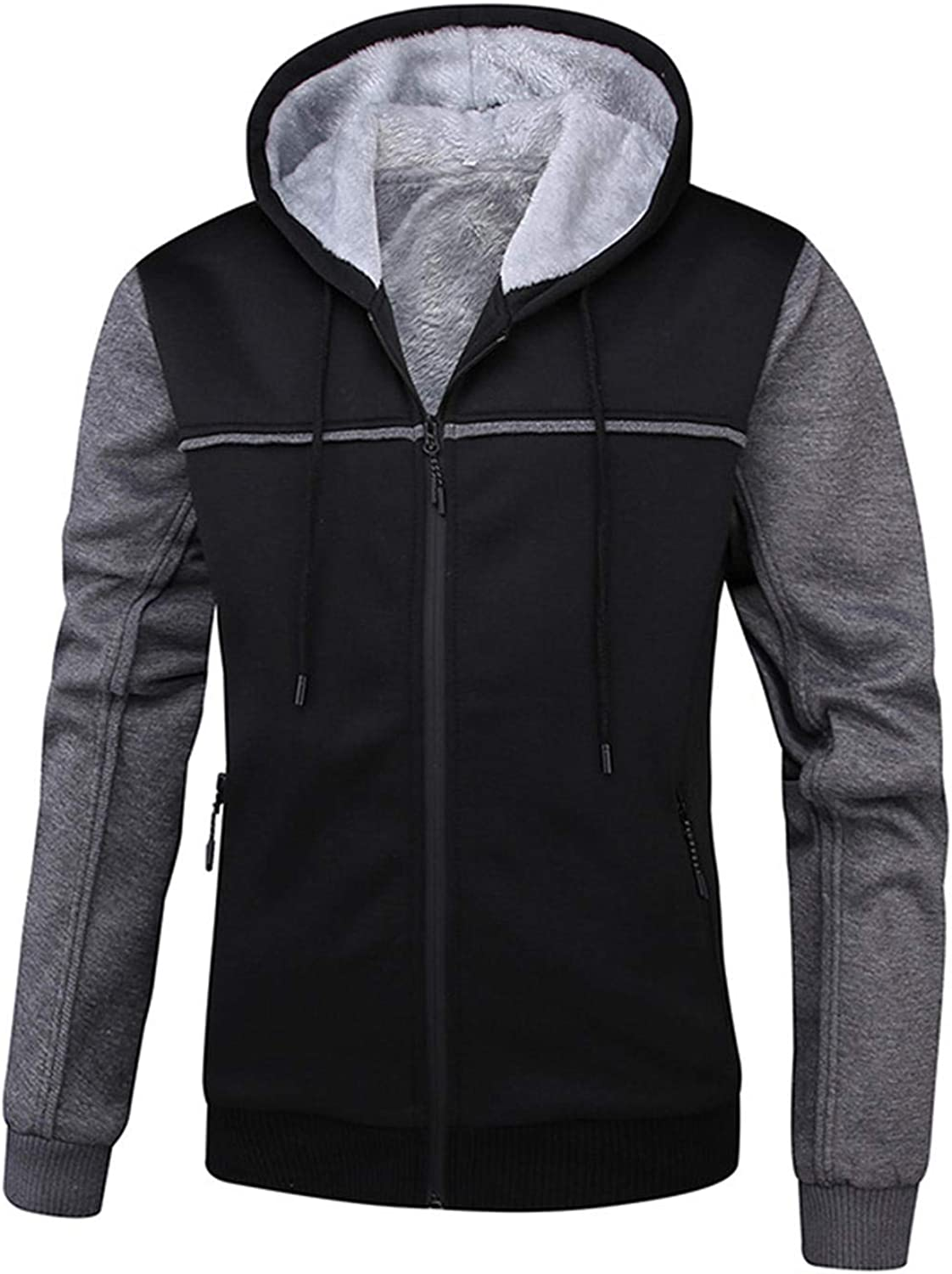 Soluo 2020 Clearance Men's Pullover Winter Workout Fleece Hoodie Jackets Full Zip Wool Warm Thick Coats (Black,Large)