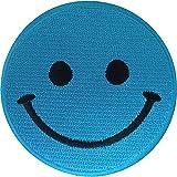 ELLU Camiseta con Parche Cosido en Parche de Hierro con Cara Sonriente Azul, Bolso de Vestir, Insignia Bordada en Jeans