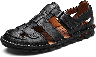 2eab65b38618ce Mobnau Mens Rubber Sole Closed Toe Leather Fashion Sandals