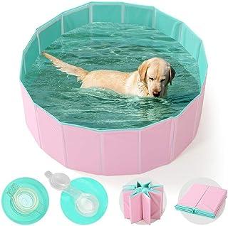 Fnova Piscina para Mascotas, Piscina para Niños,PVC Antideslizante y Resistente al Desgaste, Múltiples Usos para Mascotas y Niños (M, Rosado)