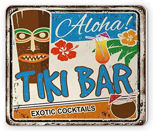 Tiki Bar Alfombrilla de ratón, diseño vintage oxidado, Aloha, cócteles exóticos y bebida de coco, antiguo, nostálgico, rectangular, goma antideslizante, color azul y marrón – 9.5 x 7.9 pulgadas