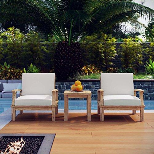Modway EEI-1487-NAT-WHI-SET Marina Premium Grade A Teak Wood Outdoor Patio Furniture Set, 3 Piece, Natural White