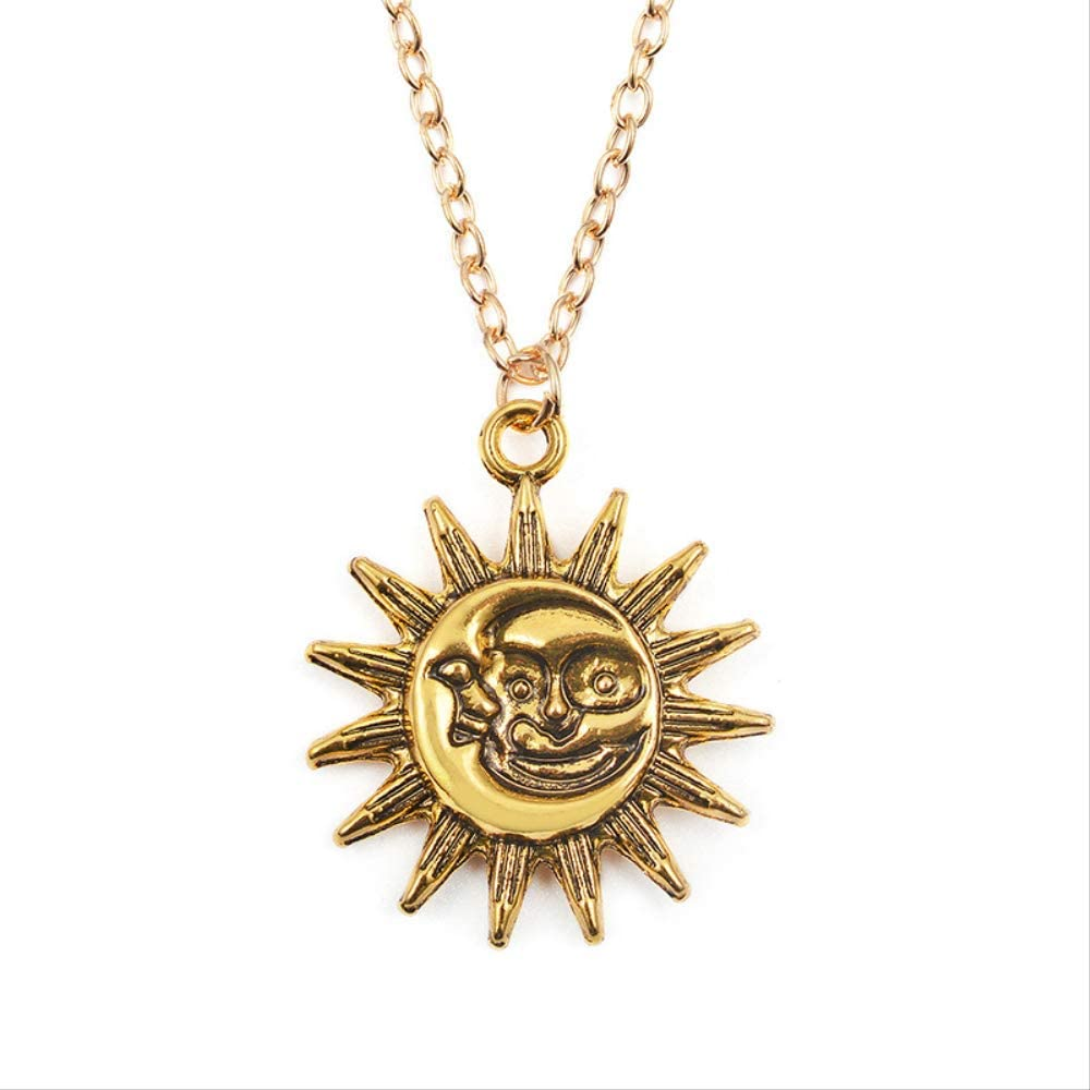 Naswi Cute Small Sun Pendant Necklace for Women Gold Color Necklace Chain Choker Necklace Bohemian Collar Jewelry Girls Birthday Gift