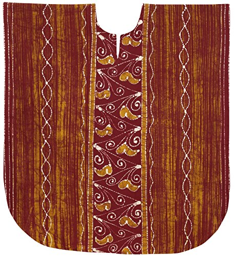 LA LEELA Damen Tunika Kaftan Strandkleid Batik Kurze Badeanzug Cover Up Loungewear Urlaub Sommerkleid Rot_C183 XL-XXL