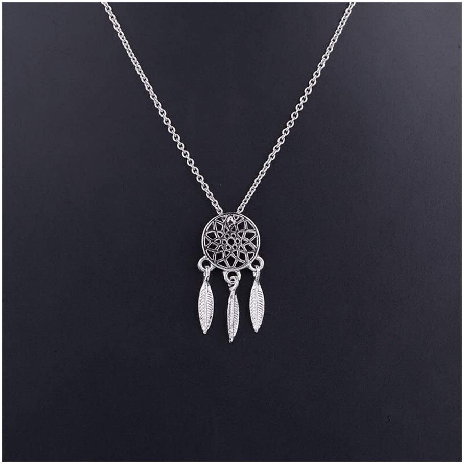 HLMJ Necklace Collares 1pcs Dreamcatcher Dream Catcher with Feathers Women's Jewelry 41cm Beautiful (Metal Color : B)