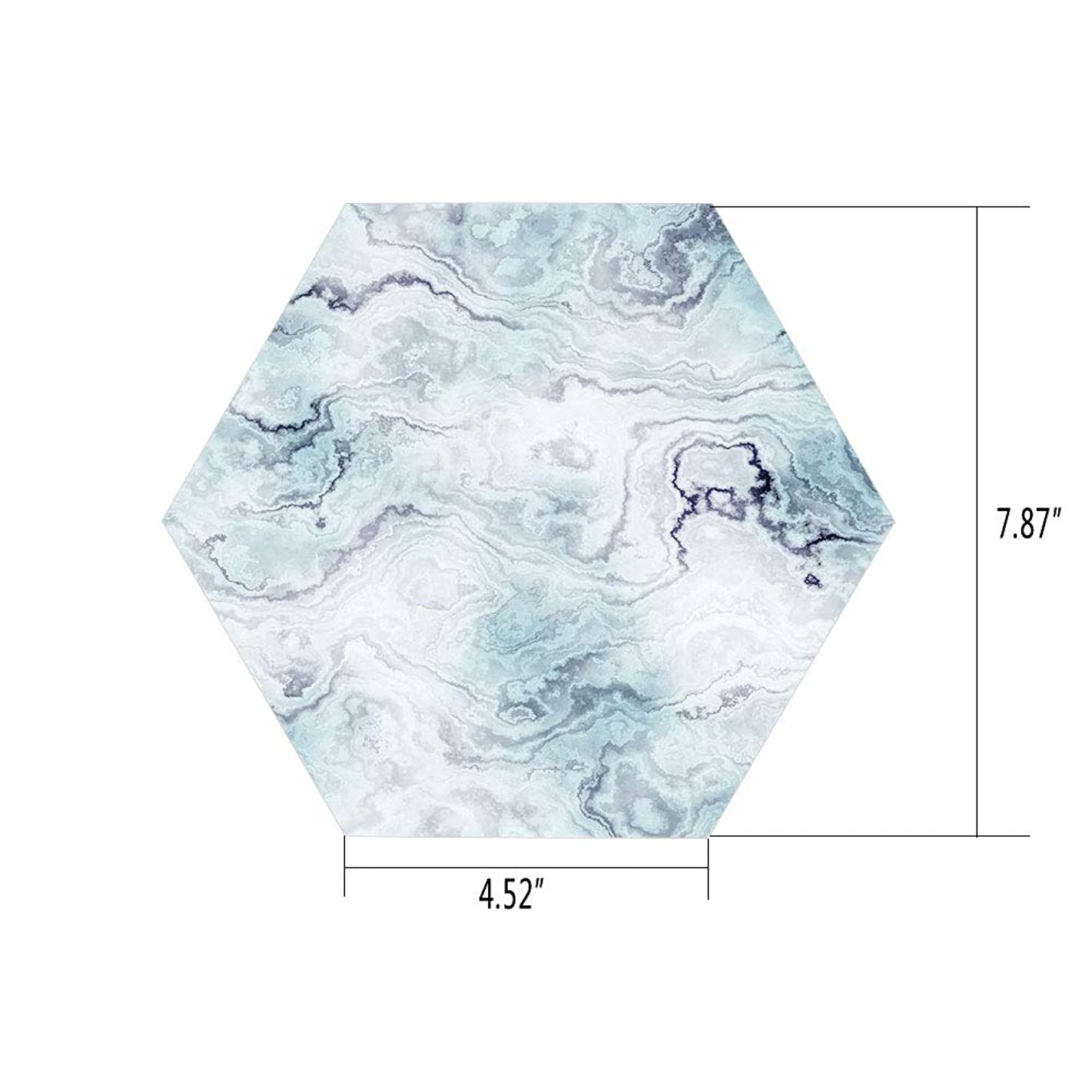 iPrint Hexagon Wall Sticker,Mural Decal,Marble,Soft Pastel Toned Abstract Hazy Wavy Pattern with Ottoman Influences Image Decorative,Light Blue Grey Mint,for Home Decor 4.52x7.87 10 Pcs/Set