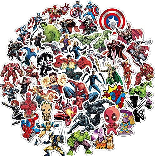N\A Superhero Avengers Stickers for Teens,Comic Legends Stickers with Party Favors for Kids,Graffiti Waterproof Decals for Water Bottles Bikes Luggage Skateboard Bumper(104pcs Random)