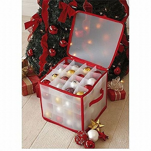 DEENZ CHRISTMAS TREE 64 BAUBLE DECORATIONS STORAGE BOX WITH ZIP OUTER BODY AND INNER PARTITIONS FLOORS ALL MADE PLASTIC