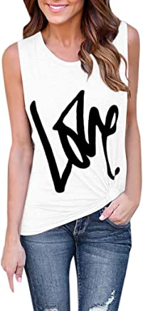 Xavigio Women's Round Neck Sleeveless Letters Print Casual Tank Tops Workout Camisoles Blouses Vest for Women