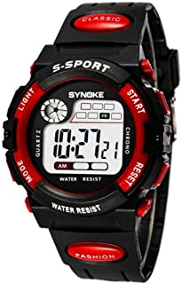Sport Wristwatch, Students Sports Large Round Dial Watch Electronic Wrist Watch with Adjustable PU Plastic Watch Band