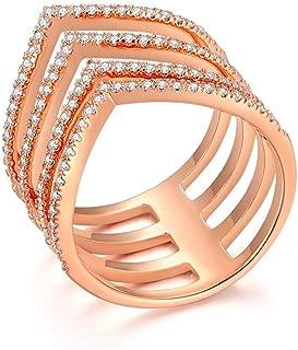 Italina Women Gifts Multi Band Cubic Zirconia Chevron V Shape Engagement Wedding Rings