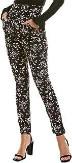 REBECCA TAYLOR Womens Black Ankle Floral Print Velvet Skinny Pants US Size: 4