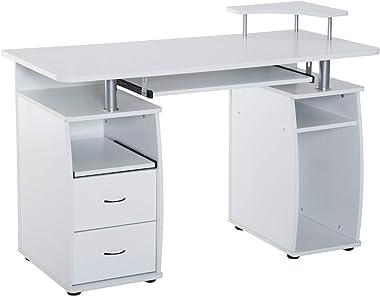 HOMCOM Home Office/Dorm Computer Desk with Elevated Shelf, White