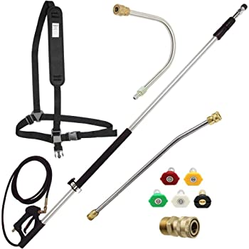 Amazon Com Hourleey Pressure Washer Telescoping Extension Wand 5 2 18 9ft Including 2 Wands 2 Adapters 5 Nozzle Tips And Belt 4000 Psi Garden Outdoor