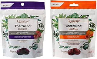 Quantum Health Immune Support Therazinc Lozenges 2 Flavor Bundle, (1) each: Elderberrry Raspberry, Blood Orange (18 count ...
