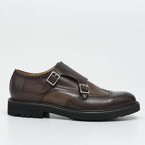 BRECOS - Full Brogue Double Monk Strap in braun Leather - 718714444 Vitello Cioccolato