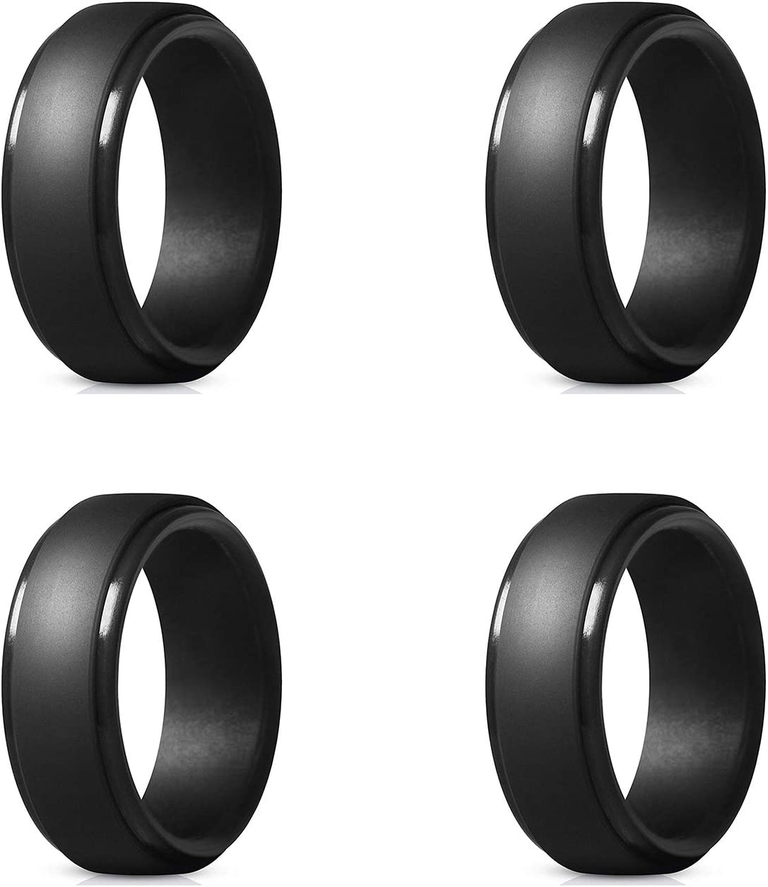 8mm Wide 2.5mm Thick KONQUER Silicone Wedding Rings Single Ring and 4 Pack Comfortable and Flexible Rubber Wedding Band for Men with Step-Edge Design