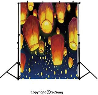 6x9Ft Vinyl Lantern Backdrop for Photography,Floating Fanoos like Devices on Sky Festive Auspicious Asian Culture Chinese Decorative Background Newborn Baby Photoshoot Portrait Studio Props Birthday P