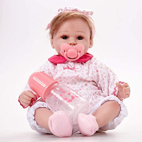 Hongge Reborn Baby Doll,Silikon Sofürealistische Reborn Babypuppe lebensecht mädchen Neugeborenen Babys Tuch   Spielzeug Kinder Geburtstag 43cm