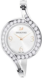 SWAROVSKI Crystal Authentic Lovely Crystals Bangle Watch, Metal Strap, Silver Tone - High Class Stone Studded Swiss Made Timepiece Jewelry and Everyday Accessory for Women