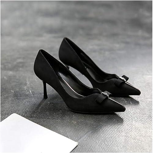 WJFGGXHK Bow Chaussures Simples Talons Talons Aiguilles été Sauvage Pointu Chaussures Femmes  meilleure mode