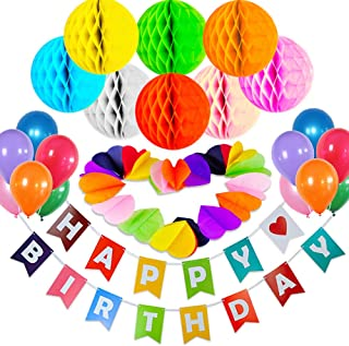 Happy Birthday Party Supplies Set - All-in-One Pack Party Decorations - 57 pcs Party Kit with Birthday Banner, Party Balloons Set, Heart Paper Garland, Honeycomb Balls, FREE Birthday Card & Inflator