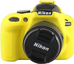 TUYUNG Camera Body Housing Case, Silicone Camera Case Protective Cover for Nikon D3400 Digital Camera - Yellow