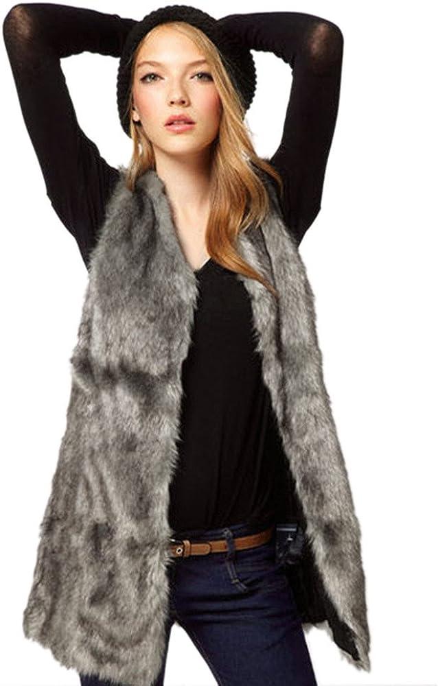 ANJUNIE Faux Fur Vest Coats for Womens Hoodies Outerwear Sleevel