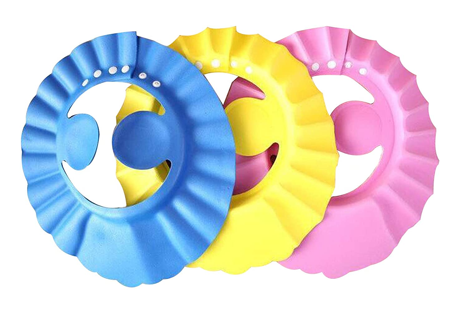 Baby Shower Cap Bath Shampoo Cap with Ear Protection Device, 3 Adjustable Soft Shampoo Caps (Blue, Yellow, Pink) That Can Protect Your Baby's Eyes