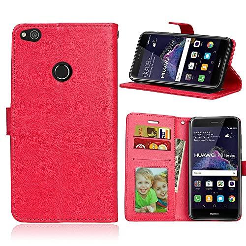 ShuiSu Funda con tapa para Huawei P8 Lite 2017, cuero sintético de alta calidad, cierre magnético de silicona suave, con función atril, bolsillos para tarjetas, color rojo