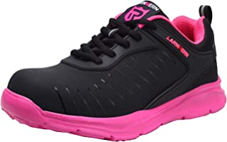 LARNMERN Steel Toe Shoes Men, Work Safety SRC Lightweight Industrial & Construction Sneakers