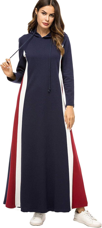 Flygo Women Casual Long Sleeve Loose Hooded Sweatshirt Dress Color Block Pullover Maxi Hoodie Dress