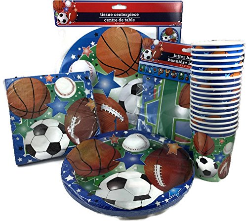 Sports Themed Party Paper Plate Birthday Bundle 18 Guests: 5 Items - 18 Large Plates, 20 Napkins, 18 Cups, 1 Sports Themed Table Centerpiece 1 Sports Themed Happy Birthday Banner