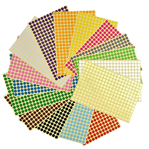 HQdeal 8mm 16 Colori Etichette Adesive,Bollini Adesivi Colorati per vestiti,etichette matite scuola,etichette scuola,la semplice codifica a colori di cartelle, grafici,visualizzazioni e calendari