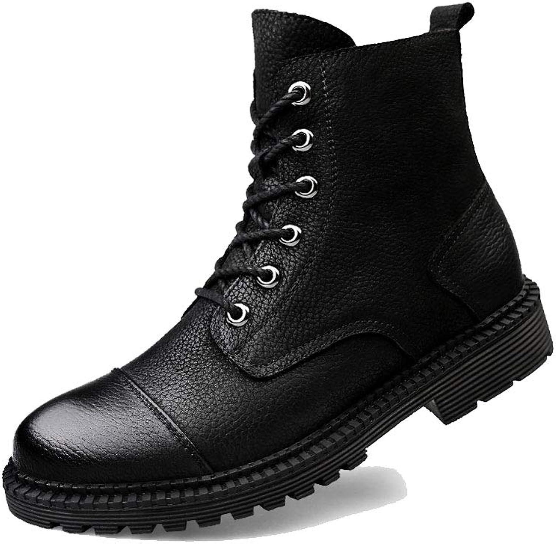 Ailj Snow Boots, Men's Warm Boots Plus Velvet Short Boots Cotton shoes Leather Martin Boots Non-Slip Waterproof (Black) (color   Black, Size   46 EU 13 US 12 UK 28cm JP)