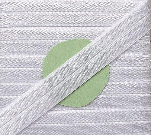 5 m elastisches Einfaßband 14 mm weiß glänzend