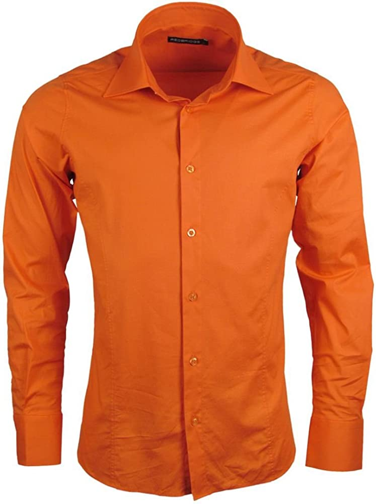 Redbridge, camicia per uomo, 97% cotone, 3% elastan, orange R-2111R