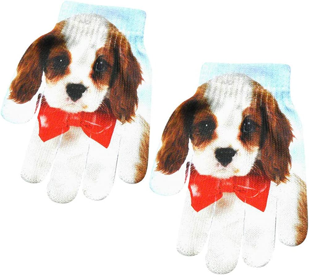 Swyss Boys Girls Winter Warm Glove,Kids Size Fashion 3D Animal Print Knitted Kitty Pet Cute Gloves