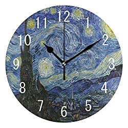 ALAZA Home Decor Oil Painting Starry Night Round Acrylic 9.5 Inch Wall Clock Non Ticking Silent Clock Art for Living Room Kitchen Bedroom