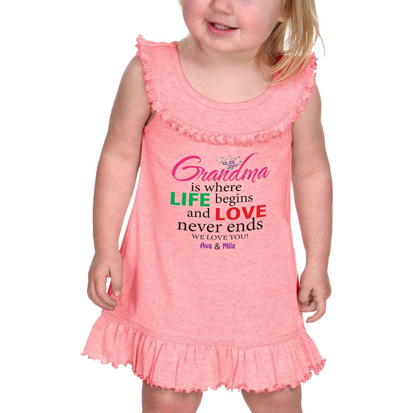 Personalized Custom Grandma is Where Life Begins and Love Ruffle Tank Dress
