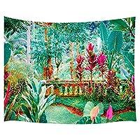 ファンタジートロピカルガーデンウォールタペストリー、庭の素晴らしい植物と花、寝室のリビングルームの壁のタペストリー家の装飾寮の壁掛けタペストリーベッドカバーのタペストリー152cm x 130cm