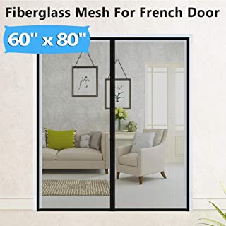 Upgraded Fiberglass Magnetic Screen Mesh for French Door [60
