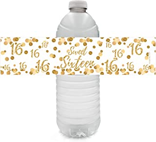 White and Gold Sweet Sixteen - 16th Birthday Party Water Bottle Labels - 24 Stickers