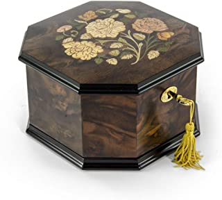 Spacious 18 Note Handcrafted Roses Inlay Octagonal Musical Jewelry Box - Over 400 Song Choices - Feliz Navidad