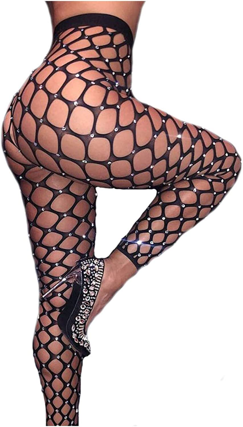 Nicute High Waist Tights Fishnet Stockings with Crystals Black Thigh High Pantyhose for Women and Girls