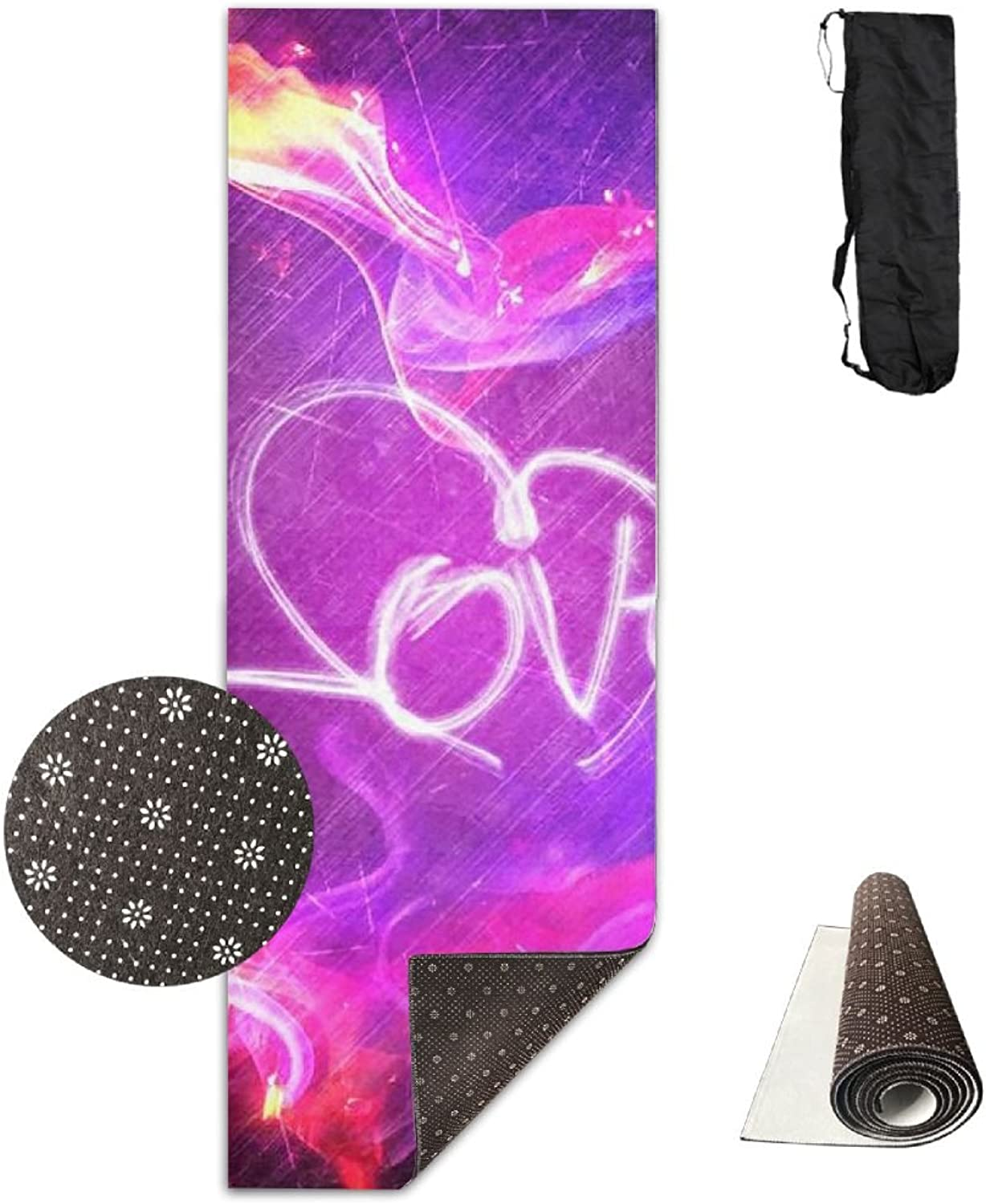 Non Slip Yoga Mat Cool Hearts Premium Printed 24 X 71 Inches Great for Exercise Pilates Gymnastics Carrying Strap